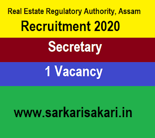Real Estate Regulatory Authority, Assam Recruitment 2020 - Apply For Secretary Post