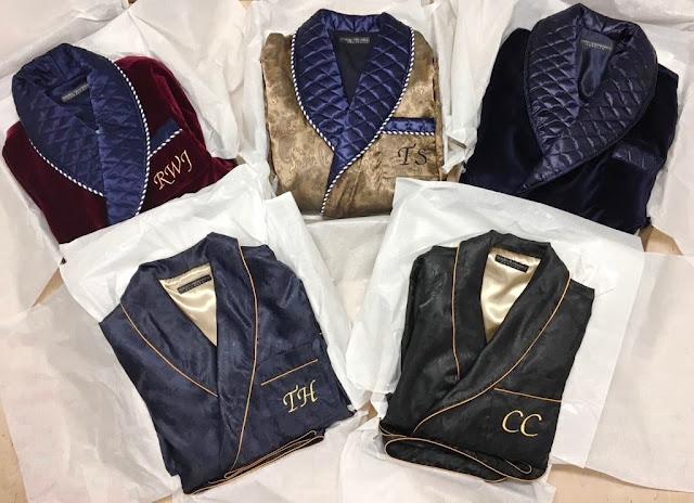 mens monogrammed silk robe quilted dressing gown luxury smoking jacket velvet