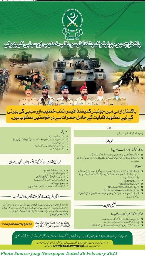 Join Pak Army as Junior Commissioned Officer Latest March 2021 Apply Online www.joinpakarmy.gov.pk