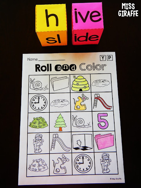 Long vowel activities for first grade and kindergarten where kids roll the words with silent e to build and read! Such fun pictures to color while they play!