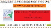 Agricultural Scientists Recruitment Board 2017 – 20 Project Coordinator Officer Post