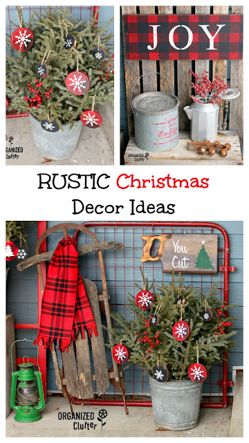 2018 Junky Rustic Christmas Outdoor Covered Patio Decor #stencil #rusticChristmas #vintage #buffalocheck #signs #holidaydecor #Oldsignstencils #vignette #crafting #upcycle #repurposed