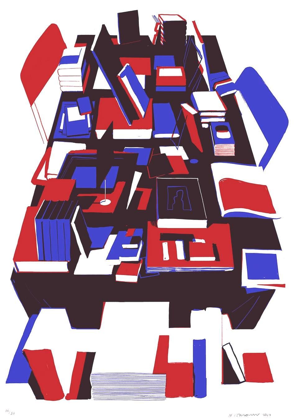 Christoph Niemann art, books on a table