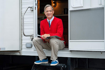 Tom Hanks stars as Mr. Fred Rogers in a movie still for the 2019 biopic film A Beautiful Day in the Neughborhood