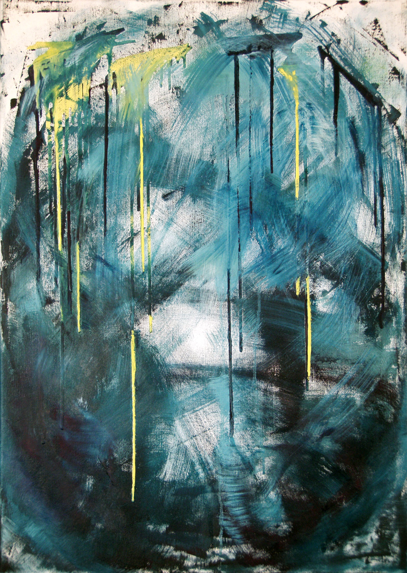 organic green abstract, yellow, white, oil painting, contemporary art, gestural, brushstrokes