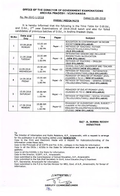 D.El.Ed., & D.Ed., 2nd year exams September - 2018 press note - time table - instructions -reg,Rc.11,Dated.6/9/11
