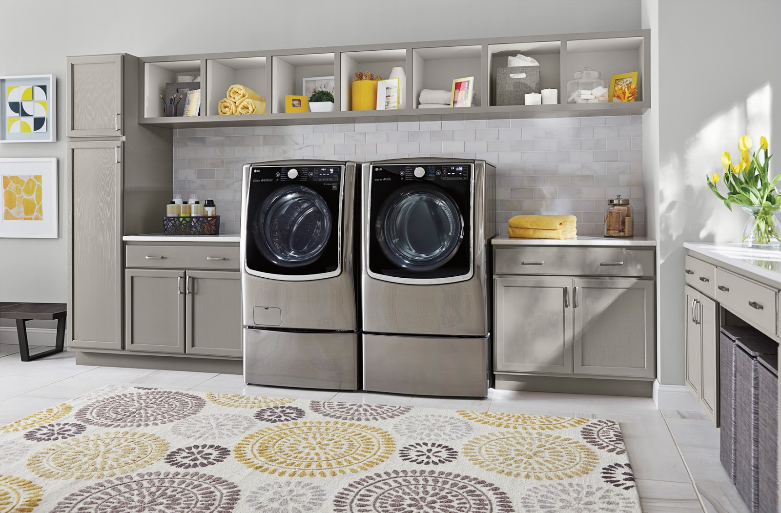 Countertop for front load washer and dryer - This Washer And Dryer Would Solve All My Problems The Front Load Is So Convenient Every Single One Of My Load Emergencies Is Also A Load On My Budget When