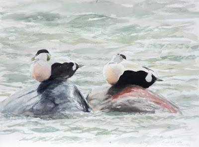 Målning av två fåglar på stenar i vattnet