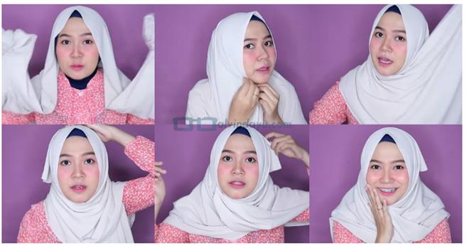 cara memakai hijab sederhana untuk wajah bulat