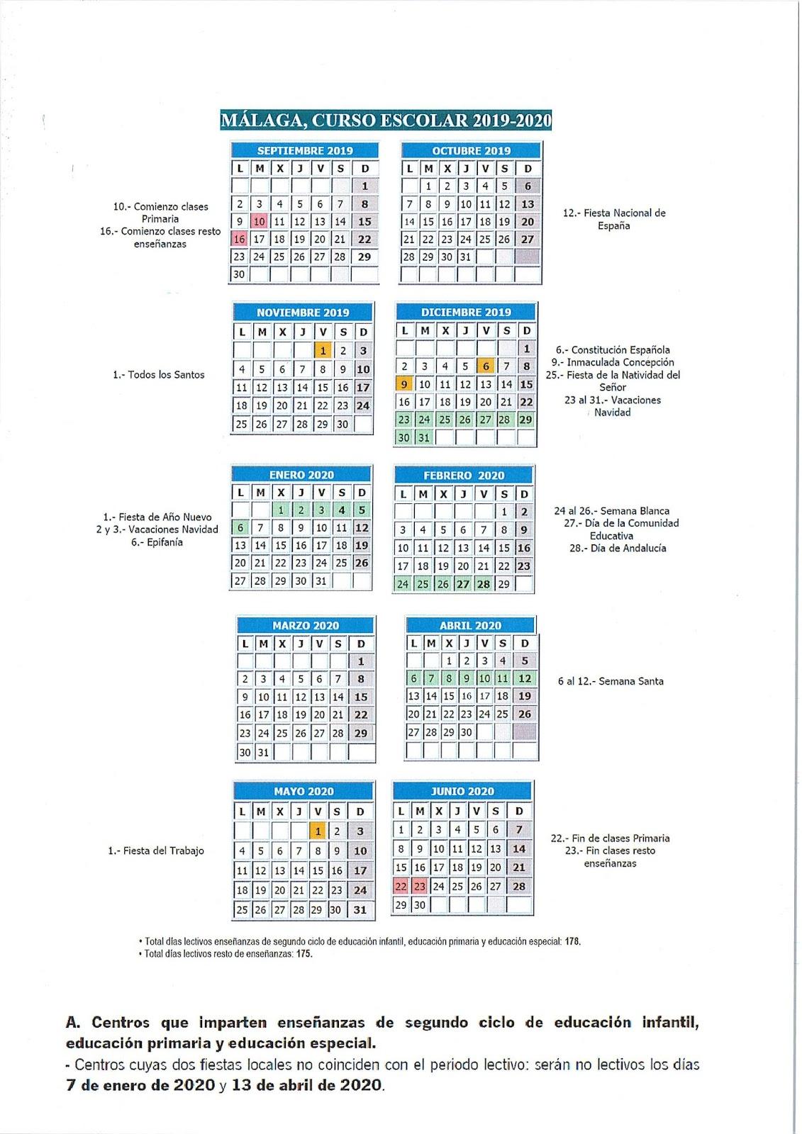 Calendario Festivo Espana 2020.Colegio Publico El Olmo Calendario Escolar 2019 2020