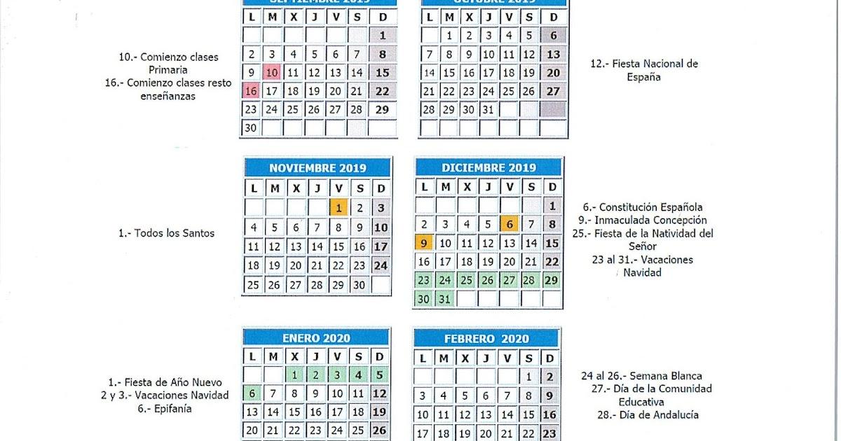 Calendario Escolar 2020 Andalucia.Colegio Publico El Olmo Calendario Escolar 2019 2020