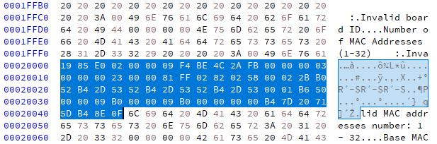 JFFS2 header splits data