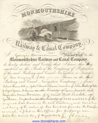 Monmouthshire Railway and Canal Company share transfer certificate with large vignette of train and barge approaching bridge