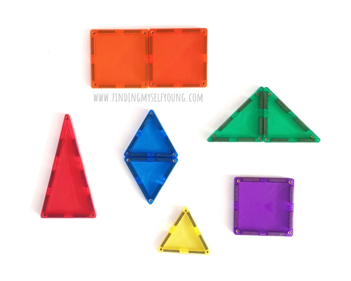 2D shapes made from magnetic tiles