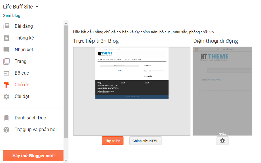 Hướng dẫn thay template cho blogspot