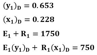 lectrura gráfica del ejemplo 2 y balance de masa para extracto y refinado