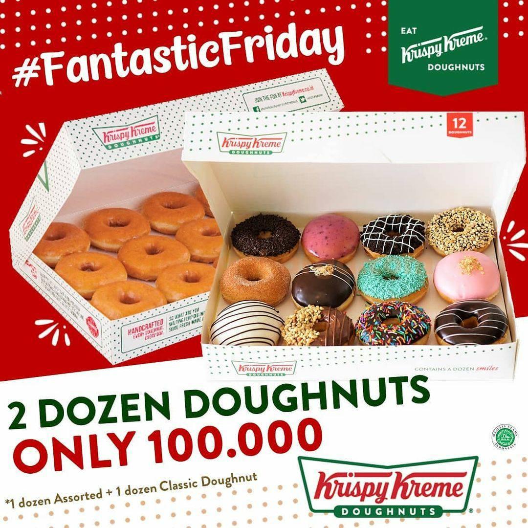 Krispy Kreme Fantastic Friday - Promo Beli 2 Lusin Doughuts cuma RP 100.000