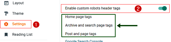 New blogger custom robots header tags setting-1