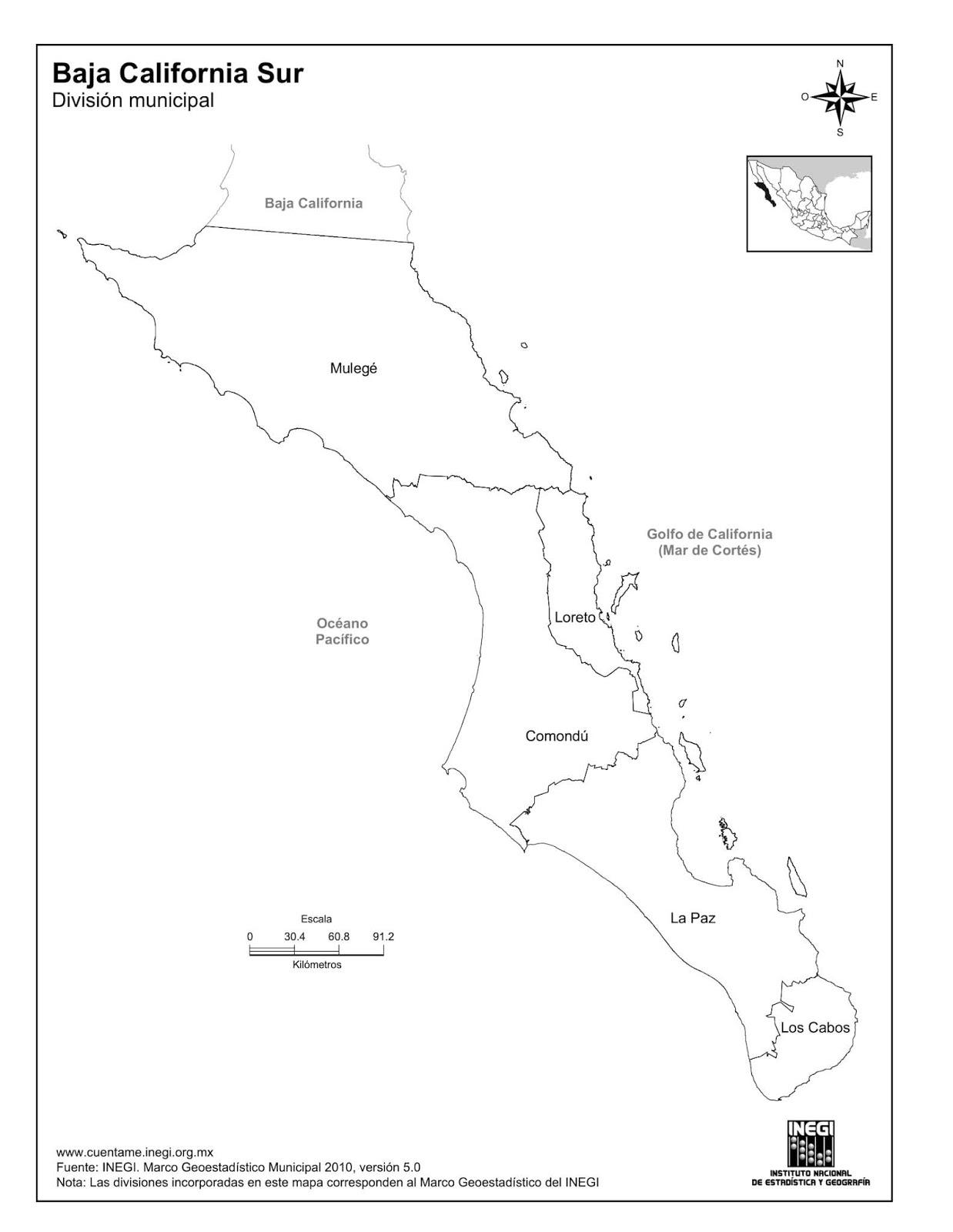La cartografía: Mapa de Baja California Sur. División municipal ...