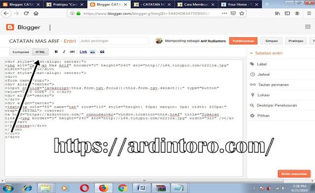 Membuat Banner Iklan di blog Menggunakan Efek OnMouseOver dengan Tombol Copy Code