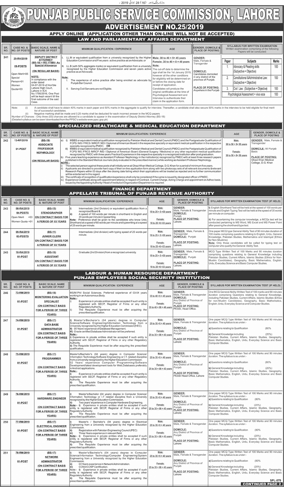 PPSC Advertisement 25/2019 Page No. 1/2