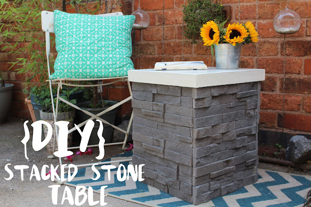 DIY stacked stone table