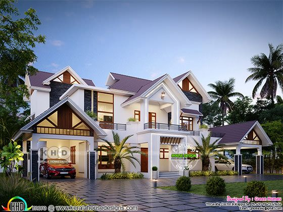 sloping roof style beautiful home design