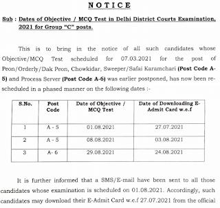 Delhi Court Peon Chowkidar Sweeper Admit card