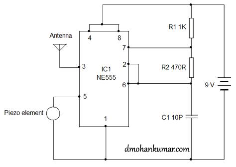 Using 555 as FM transmitter Circuit Diagram | Electronic ...