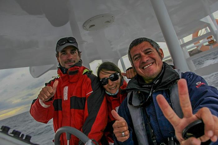 tripulantes testigos del parto de ballena en Península valdes
