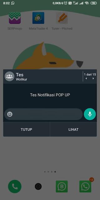 Cara memunculkan notifikasi popup WA 5