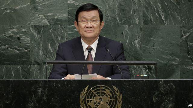 Chủ tịch Việt Nam Trương Tấn Sang phát biểu trước Đại hội đồng Liên Hiệp Quốc hôm 25/9.