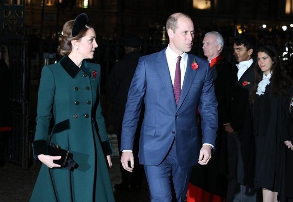 Kate Middleton, Meghan Markle, Prince William, Prince Harry, Queen Elizabeth attend Armistice Day 2018. Catherine Walker coat