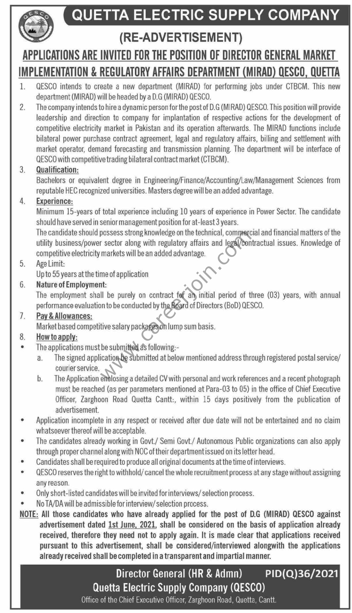 Jobs in Quetta Electric Supply Company QESCO