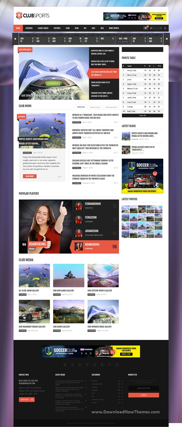 Events and Sports News Theme