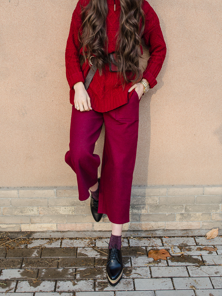 fashion blogger diyorasnotes marsala oversized jumper culottes shein oxfords zaful socks