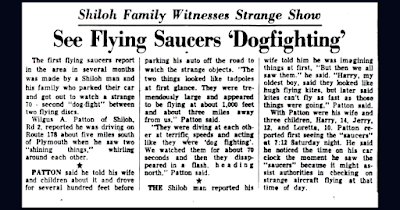 See Flying Saucers Dogfighting - News-Journal (Mansfield, Ohio) 7-13-1953