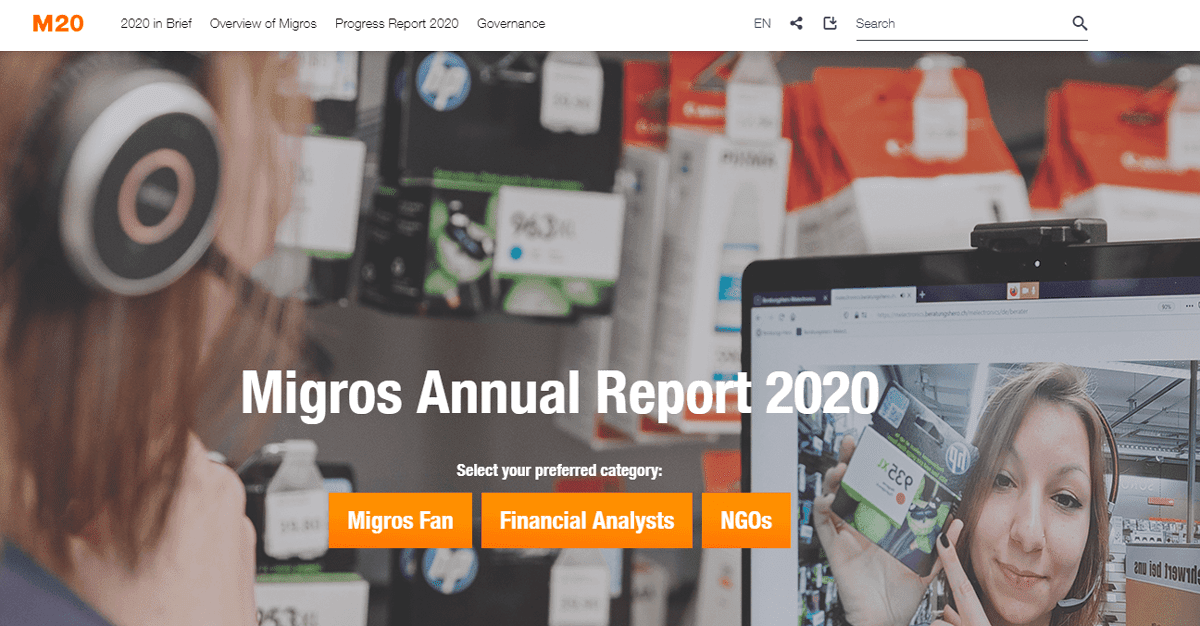 digital annual report example from Migros