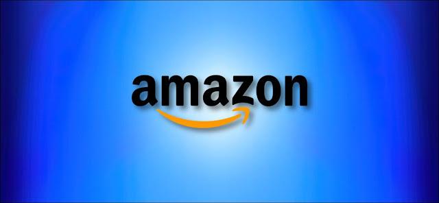 شعار Amazon.com على بطل خلفية زرقاء