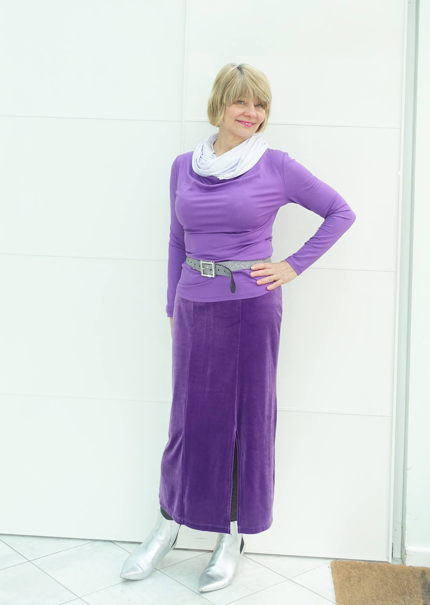 No need to look invisible over 50.  Gail Hanlon from Is This Mutton in violet and lavender ice from Kettlewell Colours with silver boots