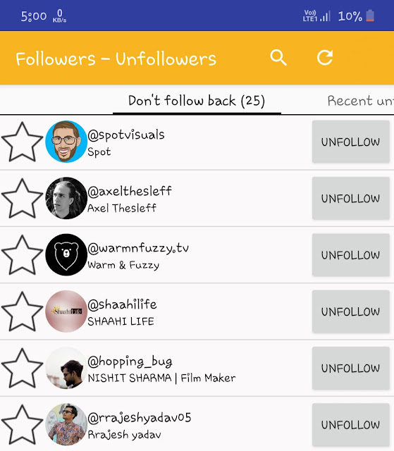 Find unfollowers on Instagram