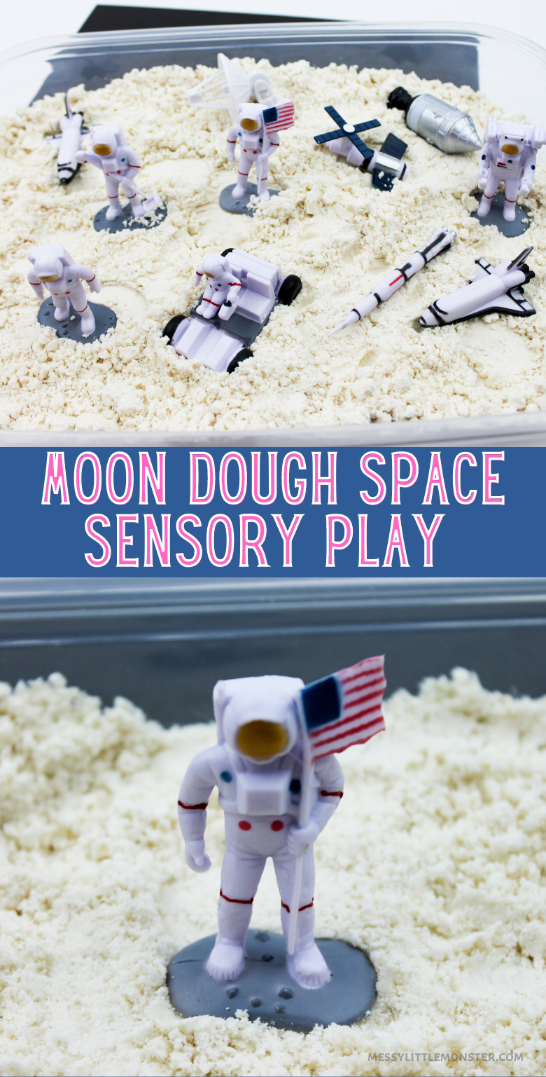 Homemade moon dough recipe. Space sensory play for kids.