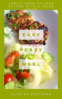 Garlicky, herby chicken patties; crispy on the outside and moist and tender on the inside, next to a fresh salad bursting with flavor make for one tasty dinner! - Slice of Southern