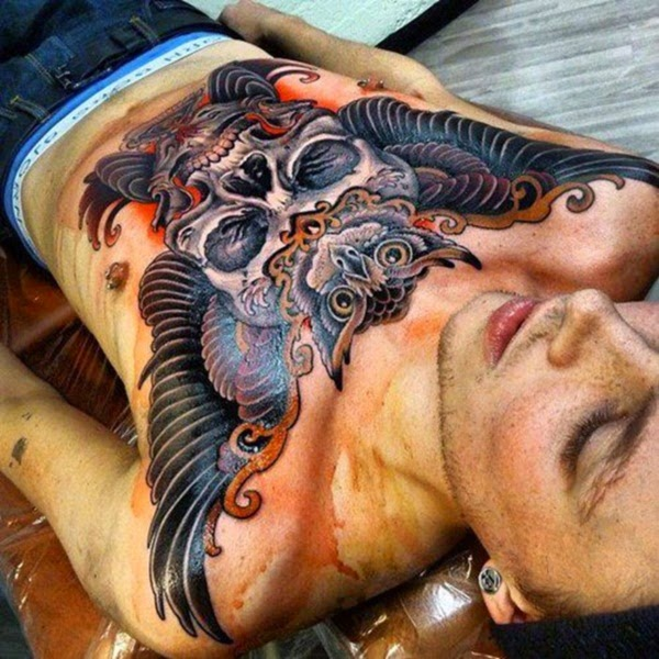 tattoo on the chest of  best man