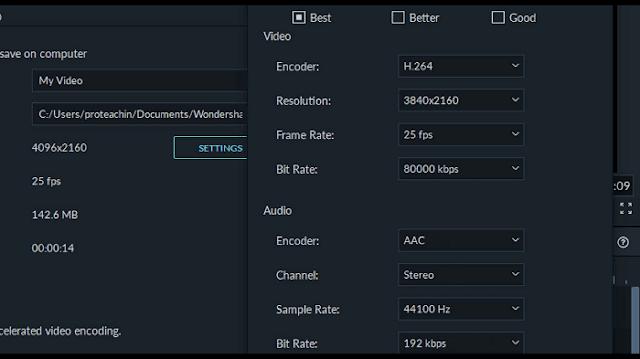 دورة تعلم و شرح filmora 9 إخراج وتصدير الفيديو بجودة 720 و 1080 و 4K UHD