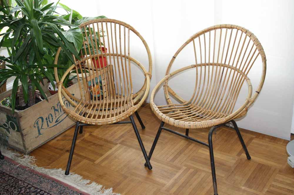 je chine pas en chine 2 fauteuils rotin vintage. Black Bedroom Furniture Sets. Home Design Ideas