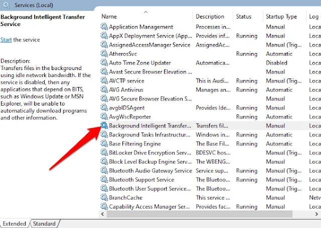 Background Intelligent Transfer Service (BITS), klik kanan dan pilih Stop.