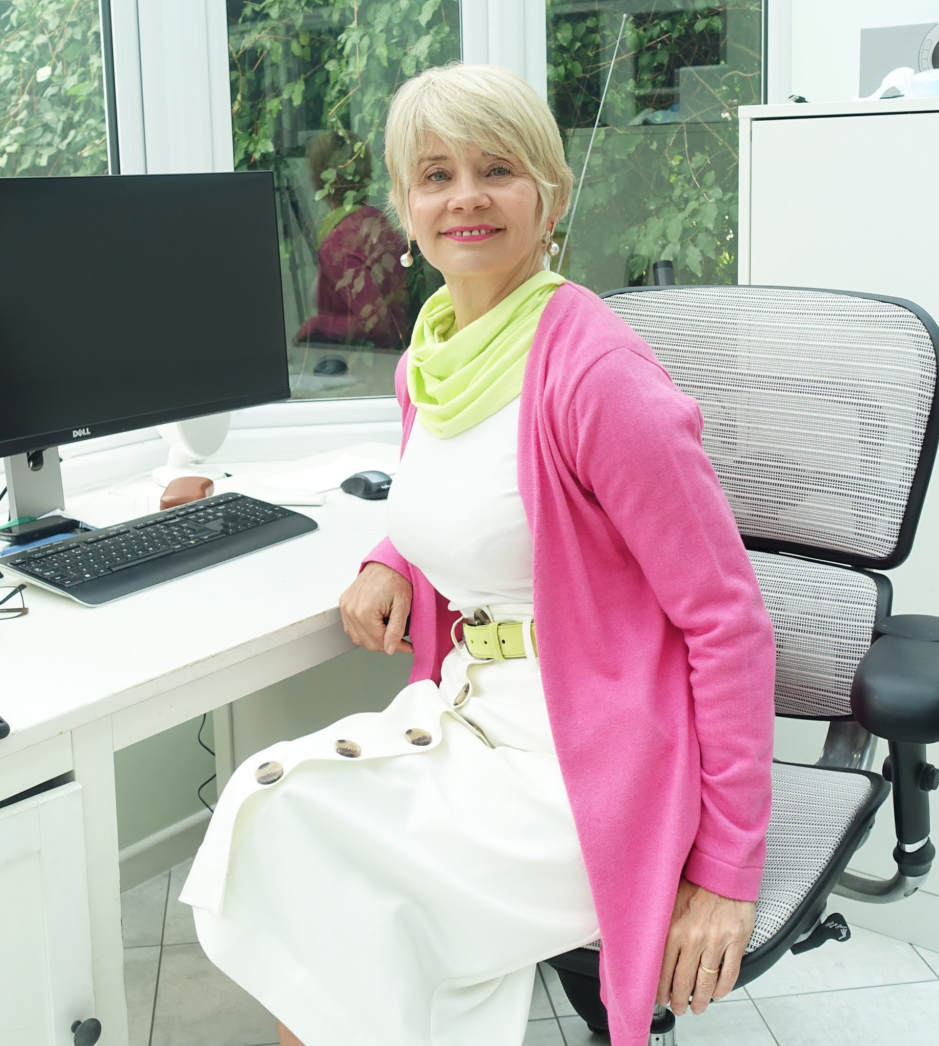 Over-50s style blogger Gail Hanlon from Is This Mutton undertakes a colour challenge to create an outfit based on cerise pink, acid yellow and white