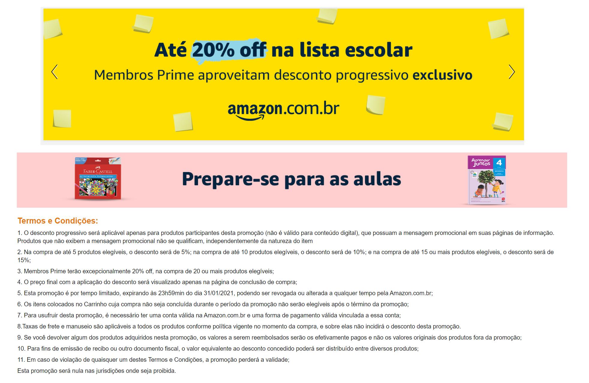 regras da participação material escolar amazon com desconto progressivo truquesdemeninas amazon prime