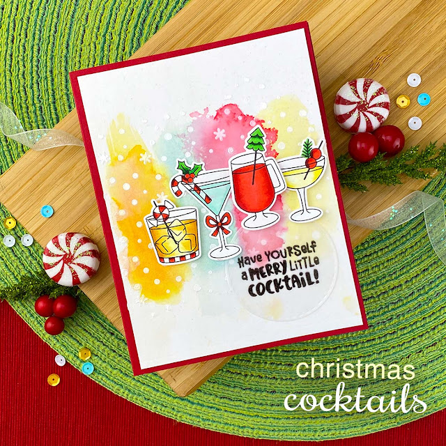 Merry Little Cocktail Card by Jennifer Jackson | Christmas Cocktails Stamp Set, Petite Snow Stencil and Circle Frames Die Set by Newton's Nook Designs